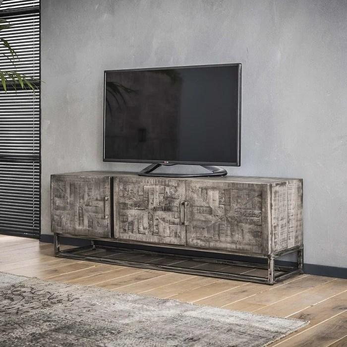 meuble tv 150cm bois massif gris pieds metal 3 portes style industriel contemporain lucknow