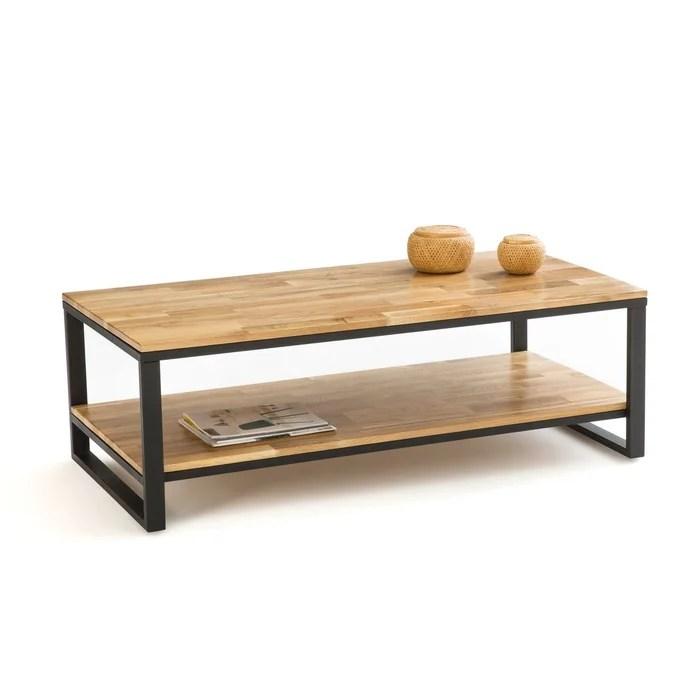 table basse chene et acier hiba