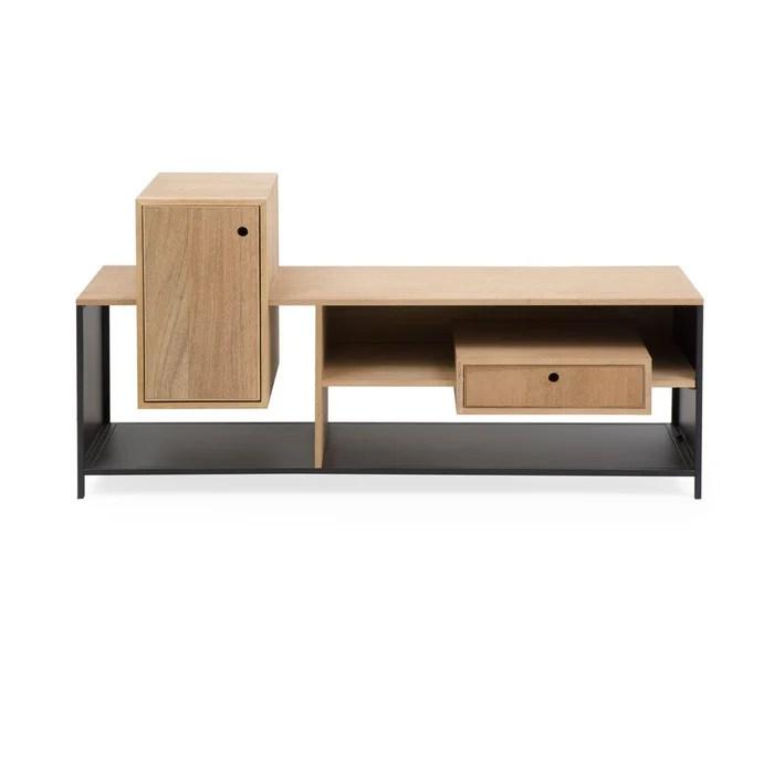 meuble tv asymetrique bois et metal 2 caissons