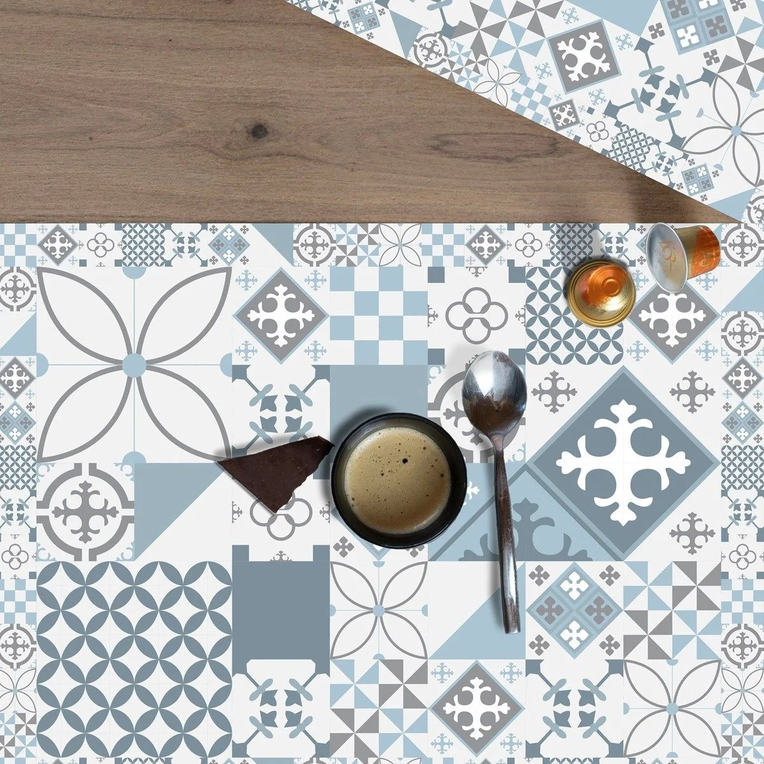 set de table antiderapant carreaux de ciment gris bleu lot de 4