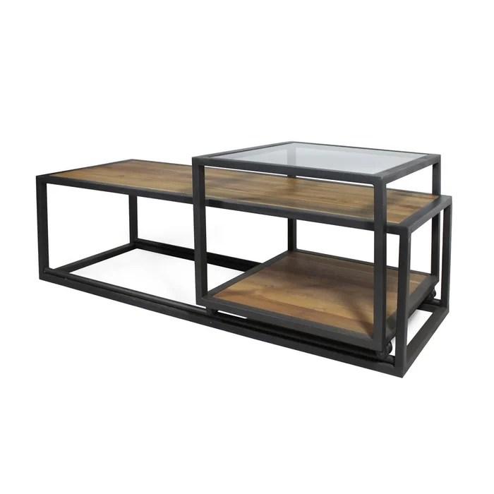 table basse en vieux teck plateau coulissant