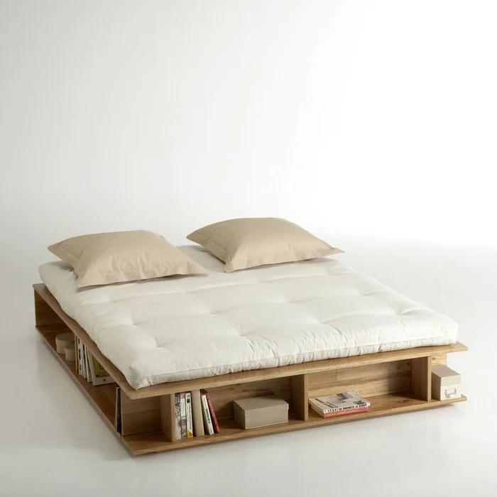 lit avec rangements sommier semi relevable presto bois clair naturel la redoute interieurs la redoute