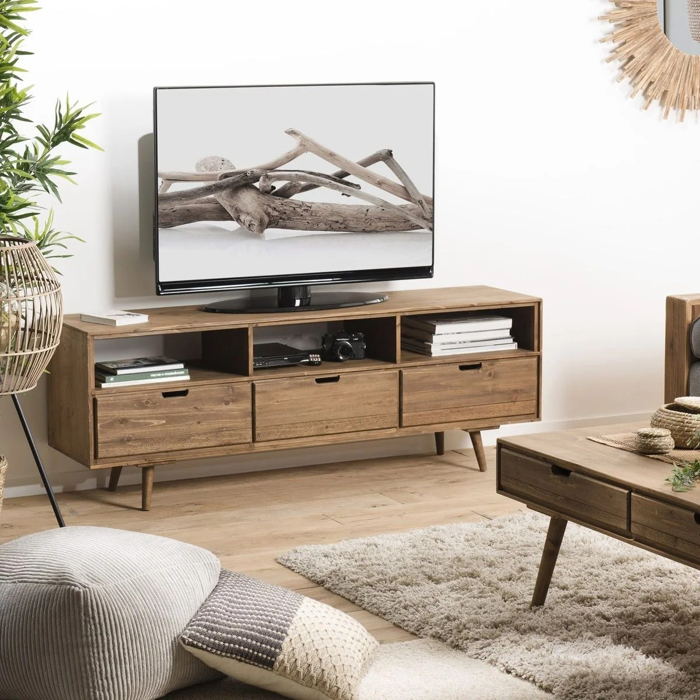 meuble tv en bois de sapin gris 120 cm 3 tiroirs style scandinave lima