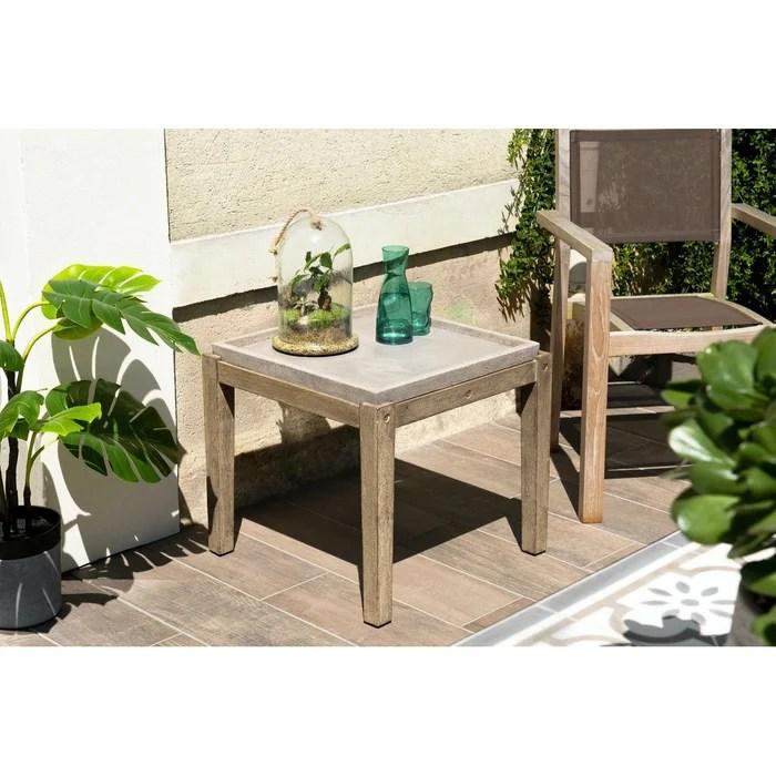 table basse de jardin carree maison de campagne en bois acacia et beton 54x54cm summer
