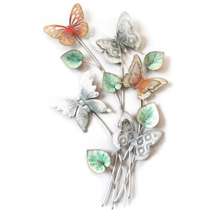 decoration murale metal papillons sur bouquet