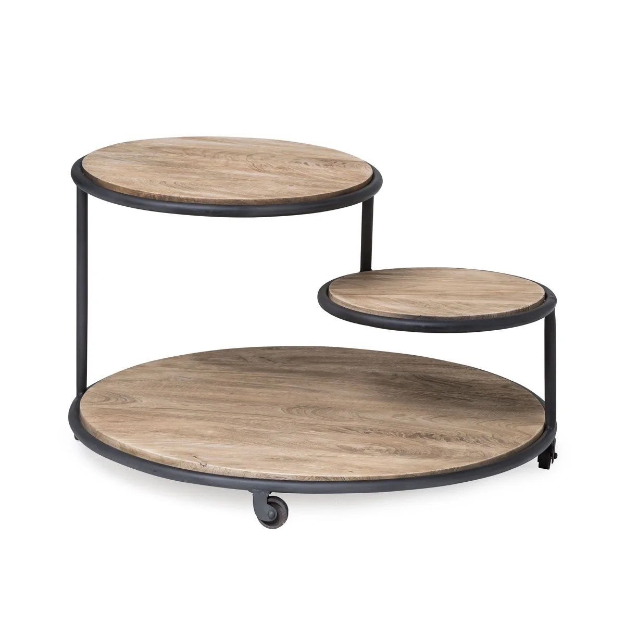 table basse bois metal 3 plateaux sur roulettes