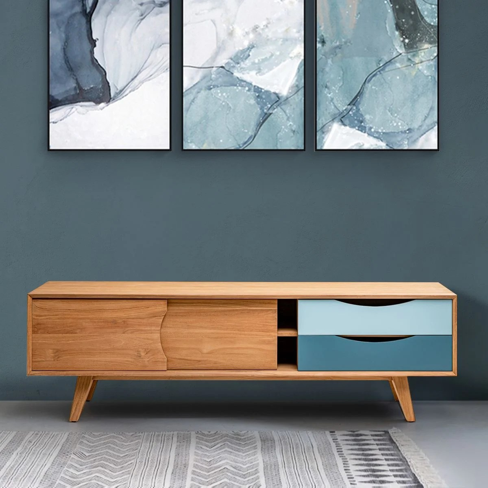 meuble tv scandinave en bois massif de teck et tiroirs bleu kalio