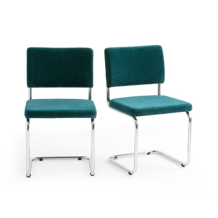 lot de 2 chaises cantilever en velours sarva