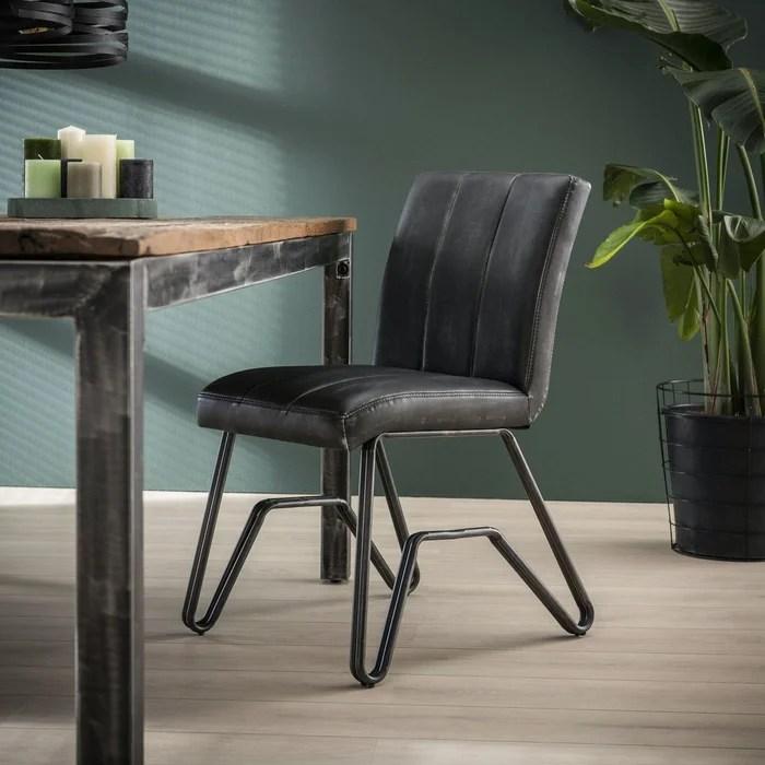 chaise salle a manger vintage tissu gris anthracite patine pietement pont melbourne