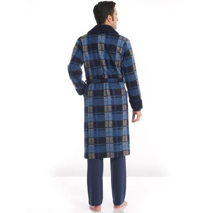 Robe De Chambre Maille Courtelle Bleu Carreaux Thermovitex La Redoute