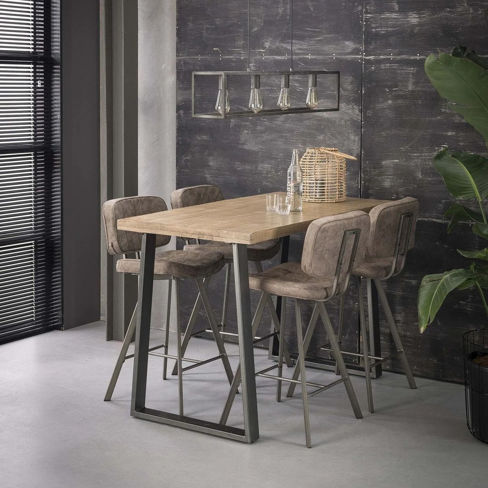 table de bar mange debout industriel en bois de manguier et metal acier 135cm lucknow