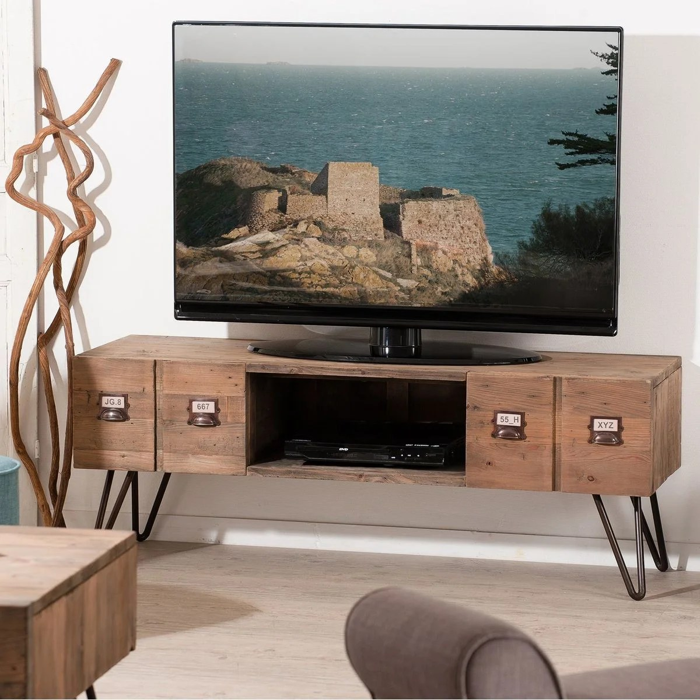 meuble tv 131cm bois pin recycle 2 tiroirs 1 niche style industriel apothicaire atelier