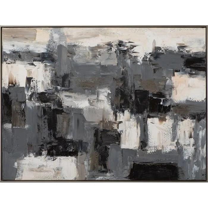 tableau abstrait noir et blanc 92 5x122 5cm