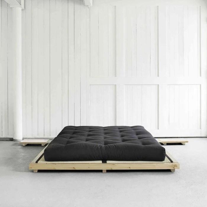 ensemble lit futon style japonais avec matelas futon noir
