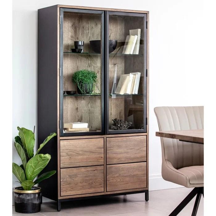 meuble bibliotheque vitrine en chene massif 2 portes style contemporain 90x170cm hudson