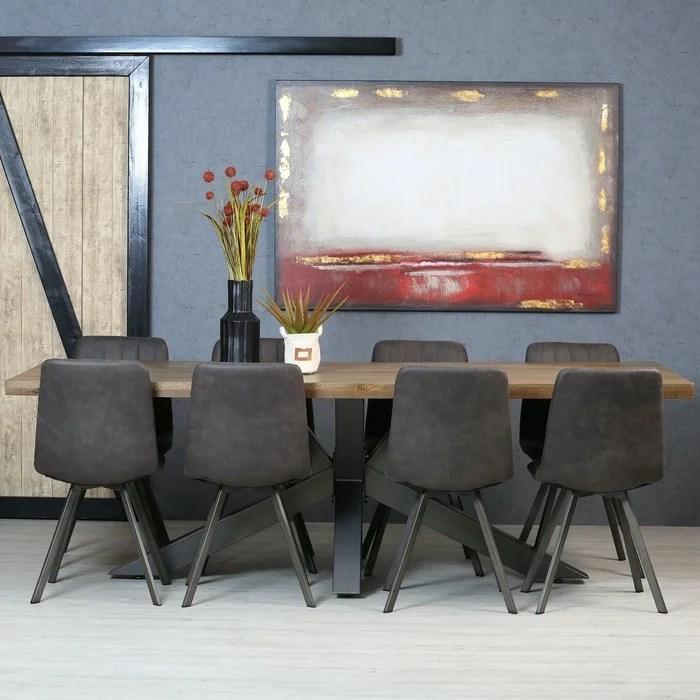 table a manger style contemporain chene massif et metal pied central 240 cm hudson