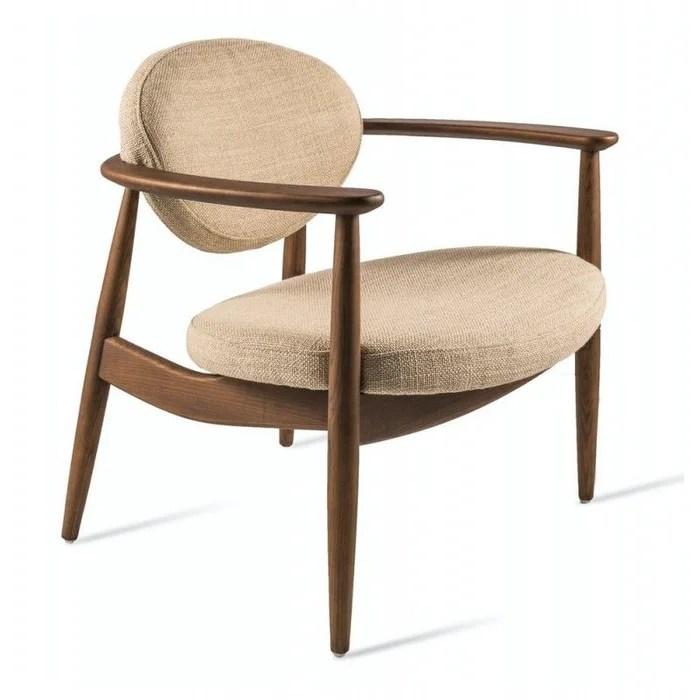 fauteuil bas lounge retro bois textile roundy