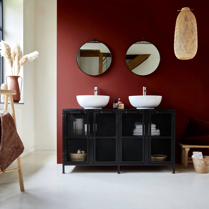 meuble salle de bain en metal et manguier 140 romy