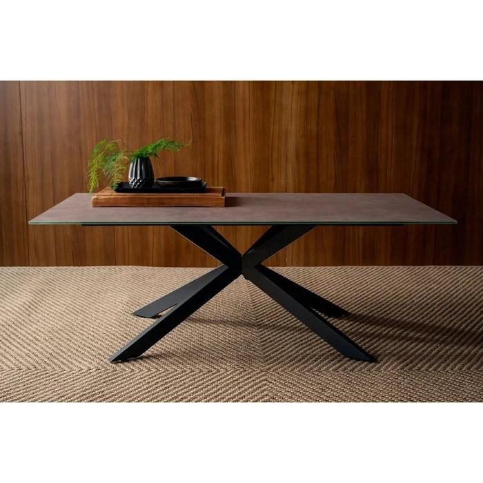 table basse en verre gris et pied central croise en metal style contemporain 120 x 60 cm ottawa