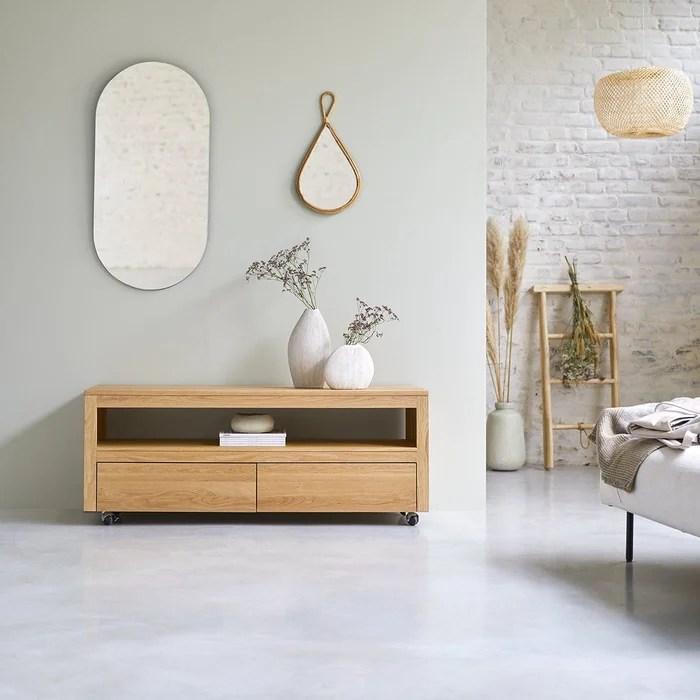 meuble tv en chene massif anoa 140 cm