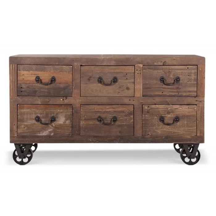 meuble bas rangement commode roues bois 147x45x84cm