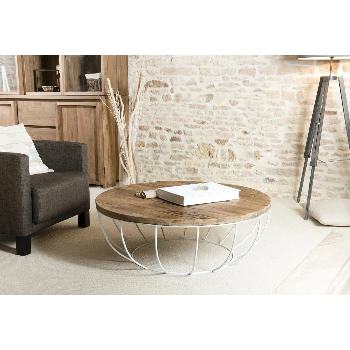 table basse ronde 100cm teck recycle et metal blanc style contemporain industriel swing