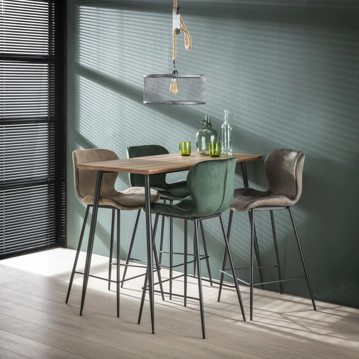 table haute de bar 4 personnes bois et metal style vintage contemporain 120cm helsinki