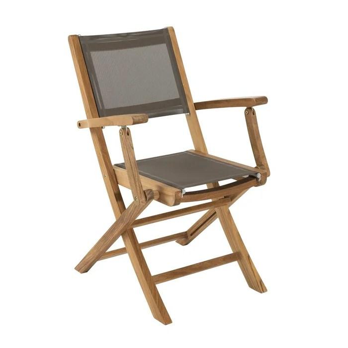 lot de 2 fauteuils chaises a accoudoirs de jardin pliants en bois de teck et tissu textilene taupe summer