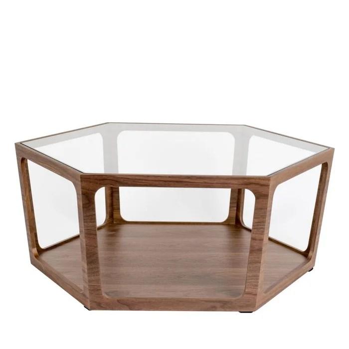 table basse hexagonale en bois et verre sita