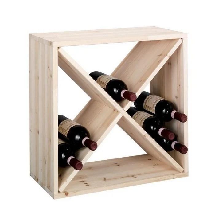 casier a bouteilles de vin cube croix bois pin zeller bois clair zeller present la redoute