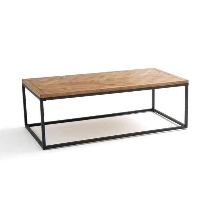 nottingham coffee table in metal pine herringbone parquet