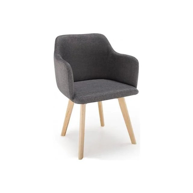 chaise scandinave tissu gris fonce crush