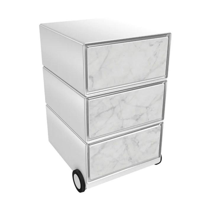caisson de bureau a roulettes 3 tiroirs marbre blanc