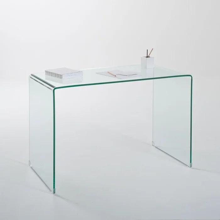 bureau console joan en verre trempe verre transparent la redoute interieurs la redoute