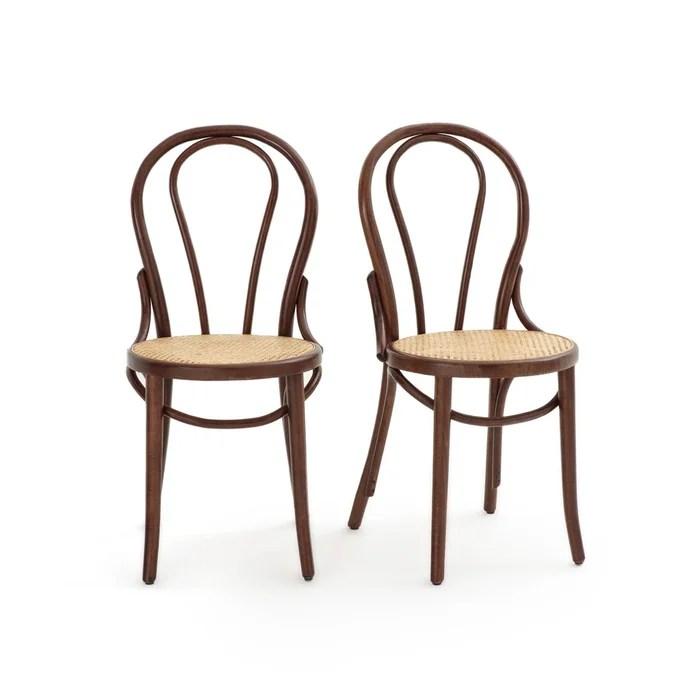 lot de 2 chaises assise cannee bistro