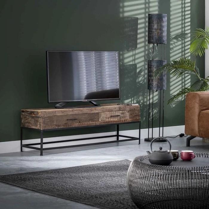 meuble tv en bois recycle brut 135cm avec 2 tiroirs et structure metal style industriel pretoria