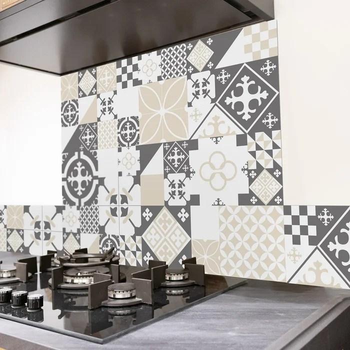 credence cuisine aluminium ciment style gris sable l60xh70cm