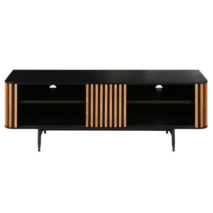 meuble tv 130 cm 4 niches plaque chene linea