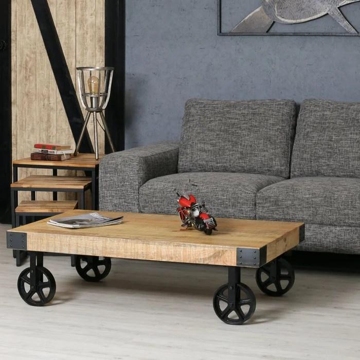 table basse a roulettes bois massif et metal style industriel 117x70cm