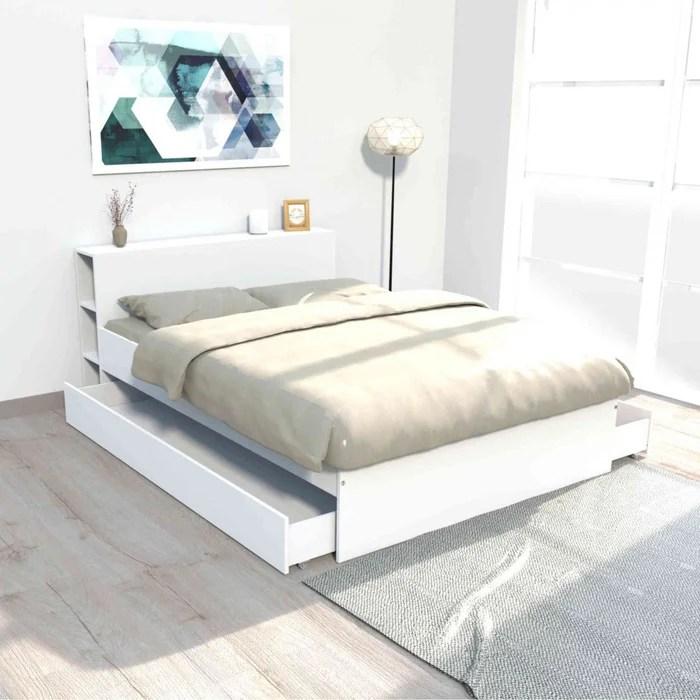 lit 2 tiroirs avec tete de lit etageres en bois lt14018