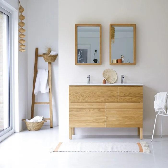meuble salle de bain en chene massif et ceramique 120 easy