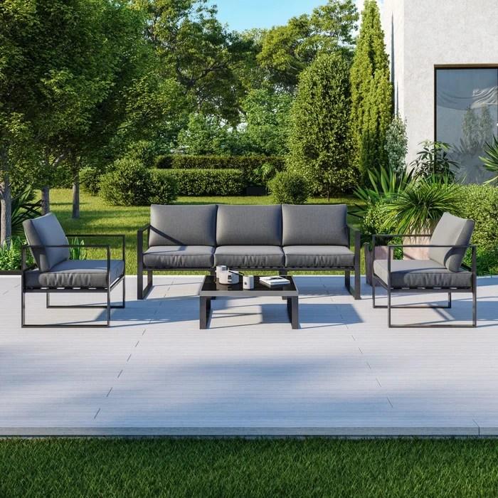 salon de jardin en aluminium 5 places gris figari