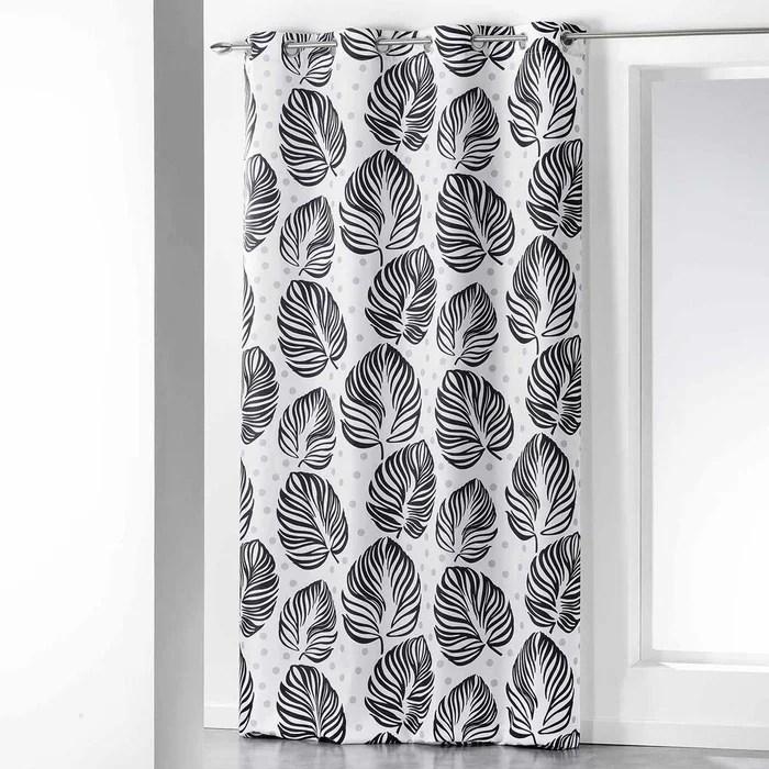 rideau imprime feuillages en noir et blanc
