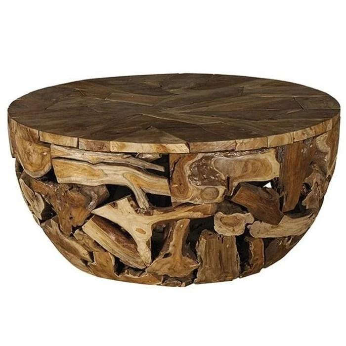table basse ronde en teck massif style exotique finition naturelle 100cm canada