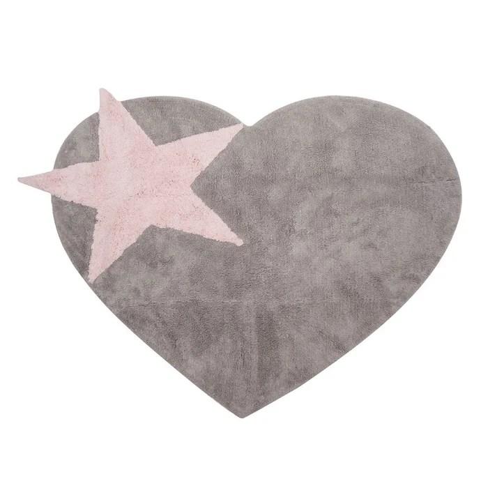 tapis enfant coton en forme de coeur et etoile