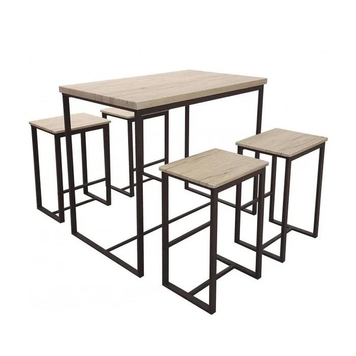 table de bar 4 tabourets de bar en bois et metal noir