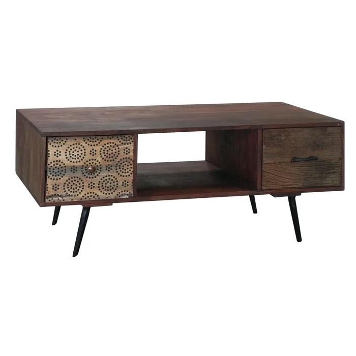 meuble tv table basse 110cm manguier 4 tiroirs 1 niche style exotique patchouli