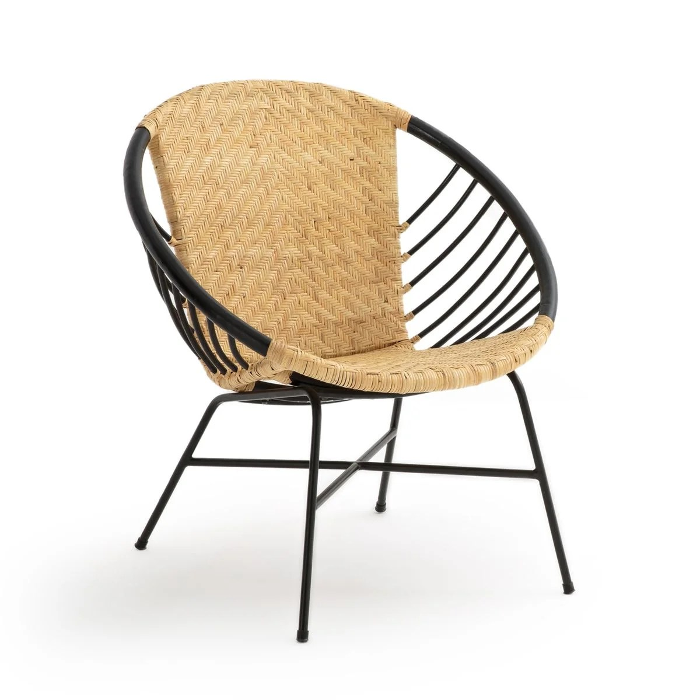fauteuil boule rotin et metal nihove
