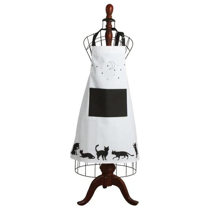 tablier de cuisine en coton chat noir et blanc