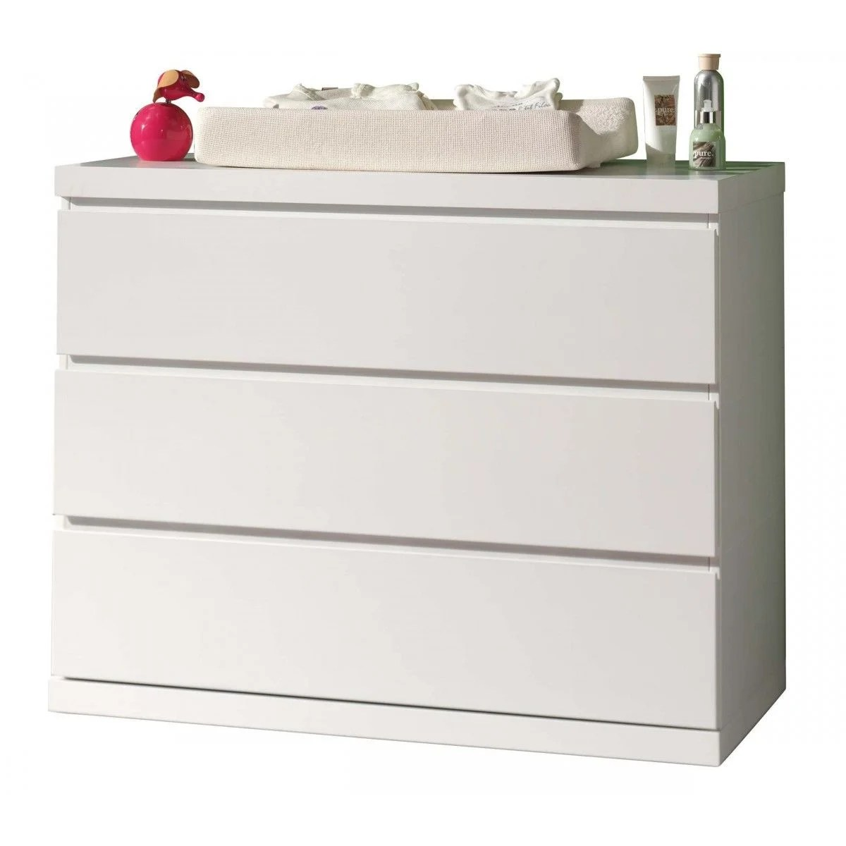 commode 3 tiroirs blanc laque co2007
